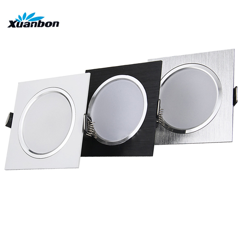 Dimmable LED Downlights 3W 5W 7W 9W 12W 15W AC85-265V Square silver Black White LED Ceiling Down Lamp Indoor Lighting With Drive led downlights 3w 5w 7w 9w 12w 15w 18w 220v led ceiling downlight 5730 lamps led ceiling lamp home indoor lighting