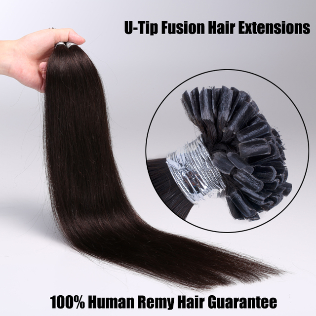 Natural Keratin Hot Fusion Hair Extensions U Tip Nail Strands For