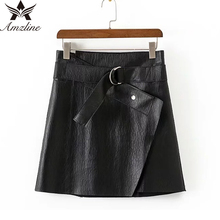 Amzline Leather Skirts High Waist Sexy saia Vintage A-Line Short Skirts Womens Sashes Solid Mini PU Bodycon Skirt Plus Size