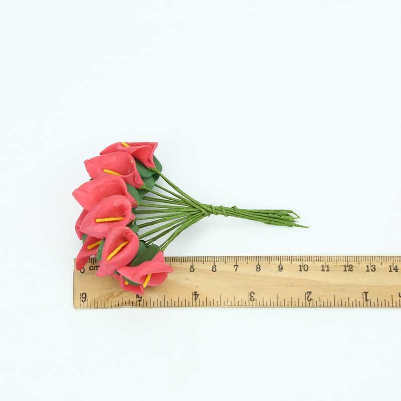 12 قطعة رغوة زهرة زنبق الكالا رخيصة الزهور الاصطناعية ل ديكورات منزلية لحفل الزفاف diy الهدايا مربع سكرابوكينغ عيد الميلاد اكليلا