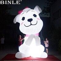 Индивидуальные большой животного освещающая белый реклама надувные мультфильм собака модель с светодио дный огни для отображения