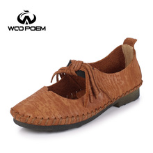 WooPoem Spring Autumn Shoes Women Breathable Cow Leather Loafers Shoes Comfortable Low Heel Flats Sewing Fringe Lady Shoes 727