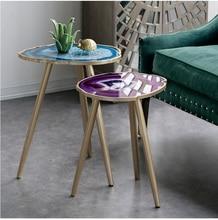 Golden Side Table / Wood Legs / Artificial Stone Desktop