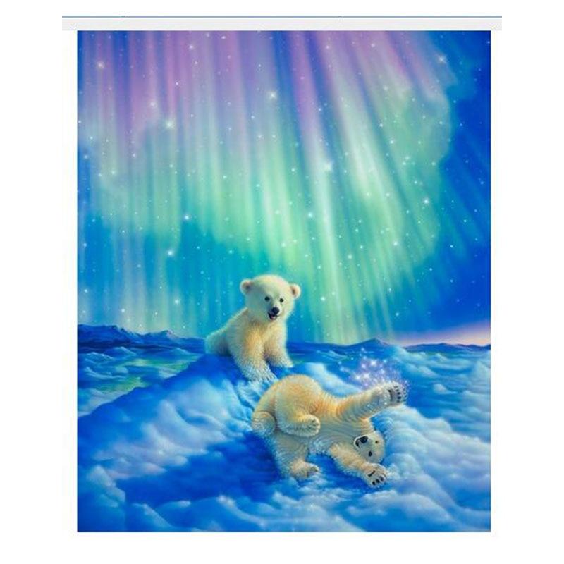 3D plné diamantové vyšívání domácí dekor diamanty mozaika malba přiložené obrázky náměstí vrták severní světla dítě lední medvěd zx