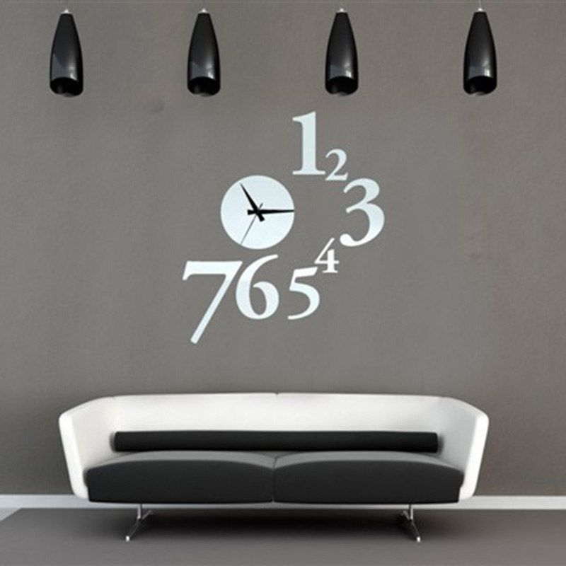 3d Digital Clock Wall Stickers Decorate Mirror Decals Living Room Decor Removable Walls Art Home