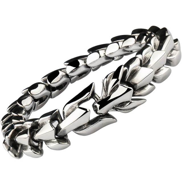 bracelet viking tête de dragon en acier inoxydable