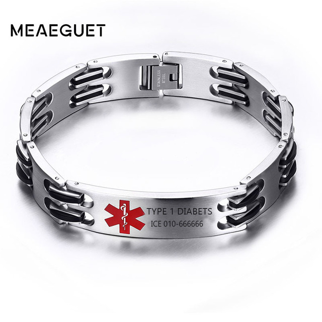 Type 1 Diabetes Men S Chain Link Id Bracelet Silver Custom Medical Alert Allergy Epilepsy Stainless Steel