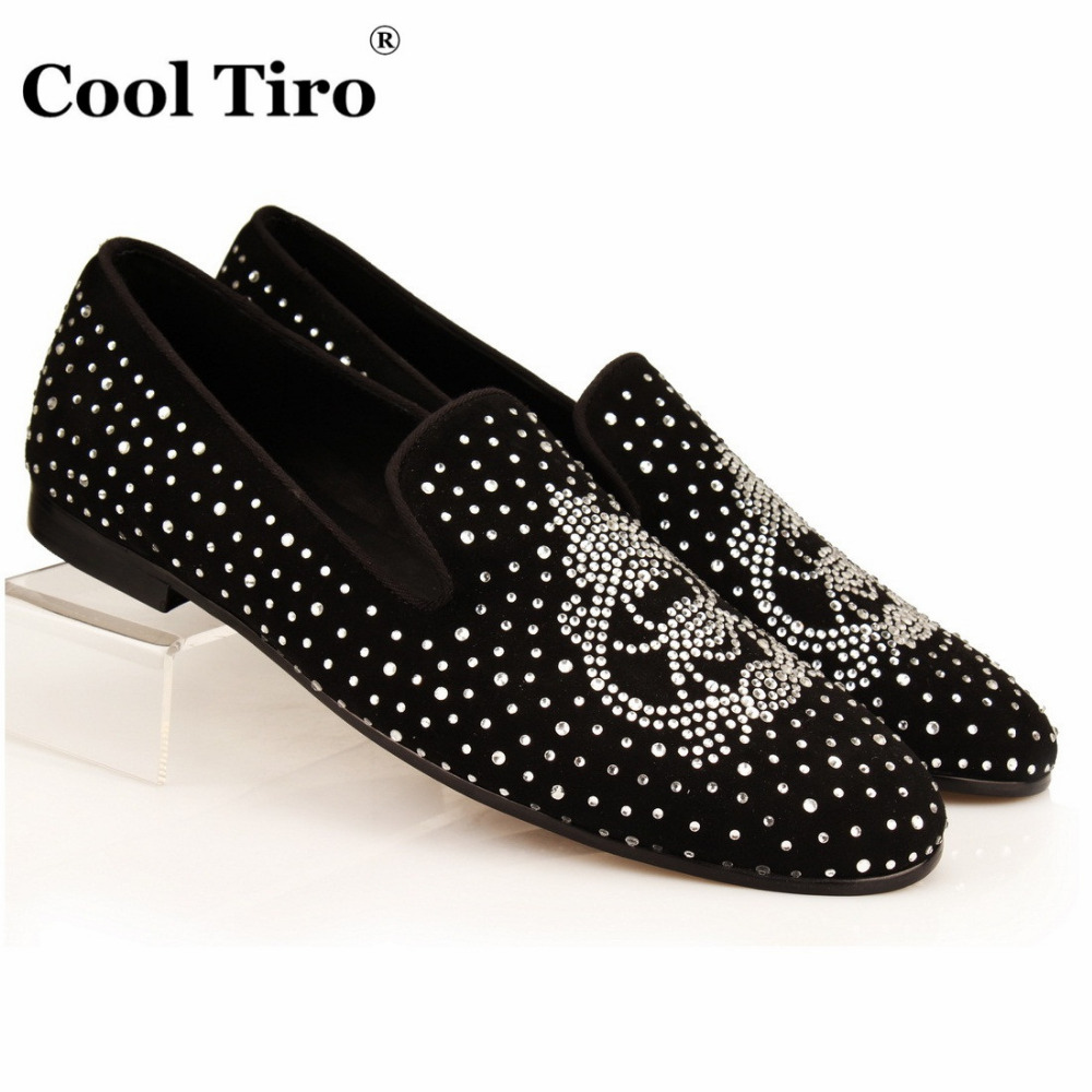 Cool tiro strass men loafers black suede crystal for Black dress shoes for wedding