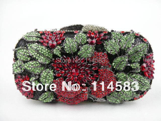 ФОТО 8122 Red Rose Floral Flower Crystal Wedding Bridal Party Night hollow Metal Evening purse clutch bag case