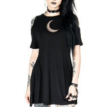 Rosetic Summer Casual Mini Dress Women Gothic Hollow Out Moon Sexy Off Shoulder Streetwear Black A Line Goth Short Dresses Girl