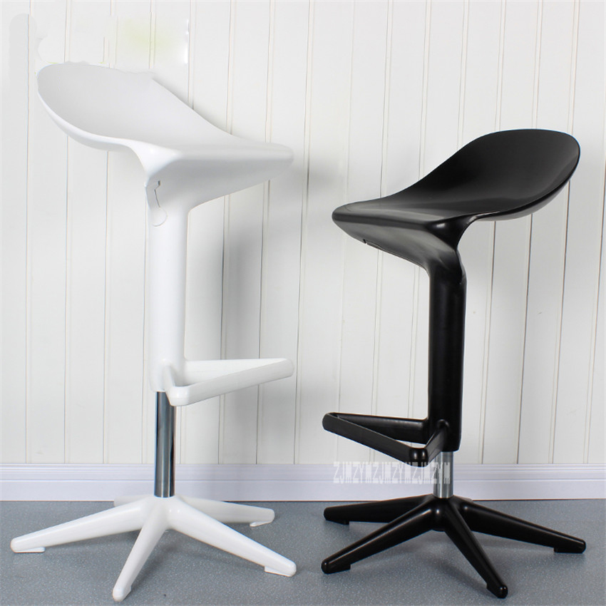 2PCS/Set Modern European Creative Spoon Design Swivel Barstool ABS High Bar Chair Rotating 57-76CM Height Adjustable Bar Chair