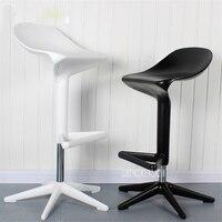 2PCS/Set Modern European Creative Spoon Design Swivel Barstool ABS High Bar Chair Rotating 57 76CM Height Adjustable Bar Chair