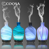 COOSA 100ml Glass Aromatherapy humidifier essential oil diffuser ultrasonic quiet 7 color light Home Office Living Room Spa Yoga