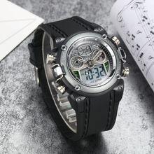 ホット販売 OHSEN ブランド電子クォーツメンズスポーツウォッチ hombre 30 メートルダイビングクロノグラフ、アラームゴムバンドグレー腕時計ギフト