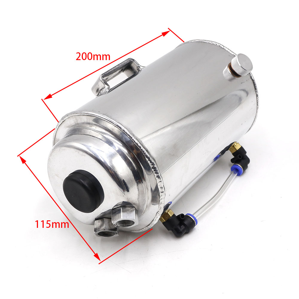 1 75L 1 75 Litre Aluminium Polished Round Oil Catch Can Tank With Breather Filter Fuel Tank YC100722 in Fuel Tanks from Automobiles Motorcycles