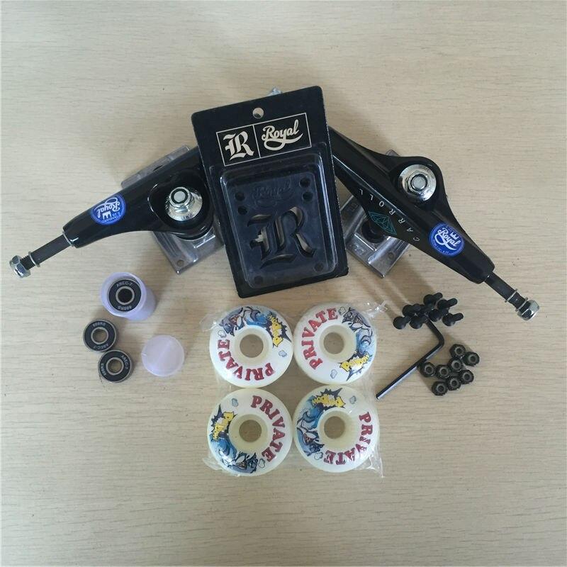 Peças de skate REAL 5.25 Caminhões Do Skate 51mm 52mm Rolamentos de Skate Rodas & ABEC 7 Plus Royal Almofadas de Riser & UM Conjunto de Hardware - 2