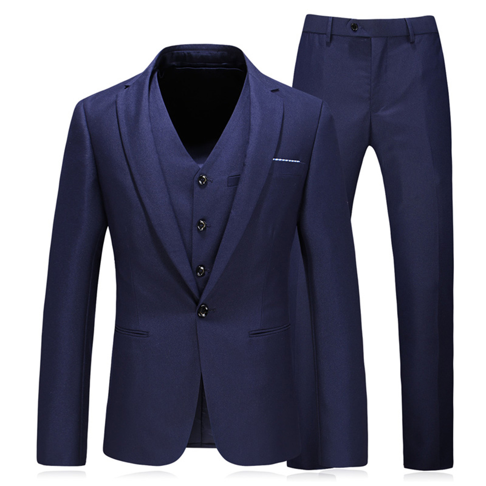 Two D'affaires Button De black Classique Formelle Button Blazers Slim Couleur blue Hommes Pantalon Fit Gilet Button Masculin Solide Black Mariage Pour Costume Parti Costumes veste One Luxe Oqg4F