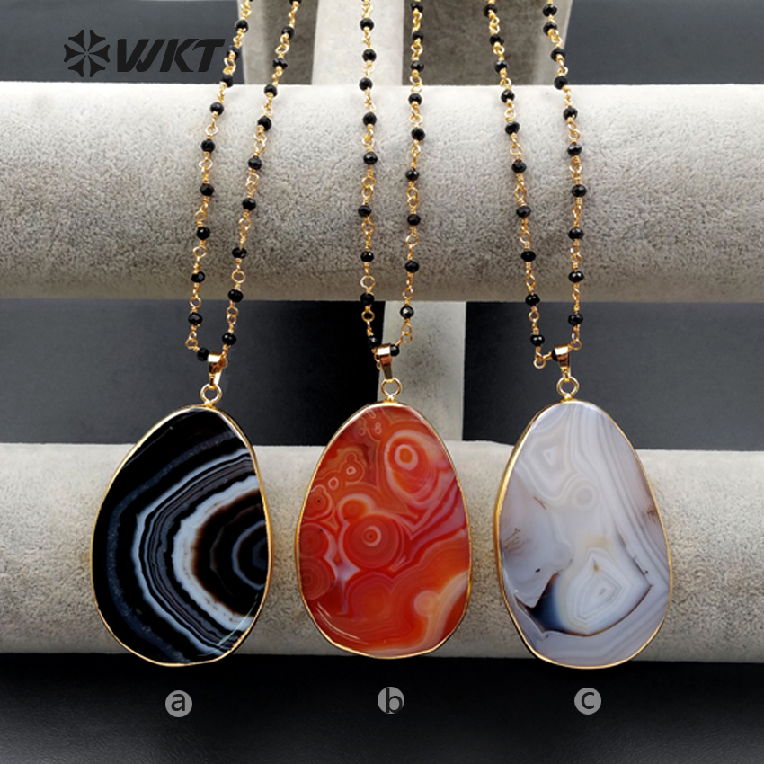 0fef054915d3 WT-N1077 WKT venta al por mayor nuevo collar Colgante de Piedra con cuentas  de piedra pequeña