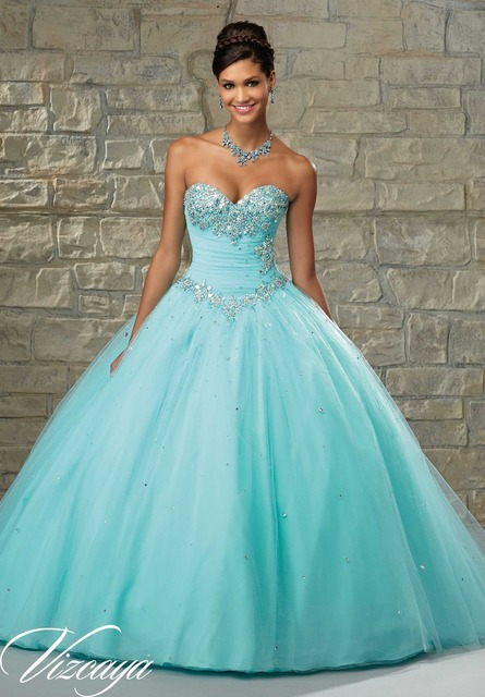 Strapless Rhinestone Top Puffy Blue Long Prom Dresses 2015-in Prom ...