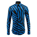 High-end Men's Camisas 2016 New Fashion Zebra Striped Long-sleeved Shirts Mens Digital Printed Cotton Shirts