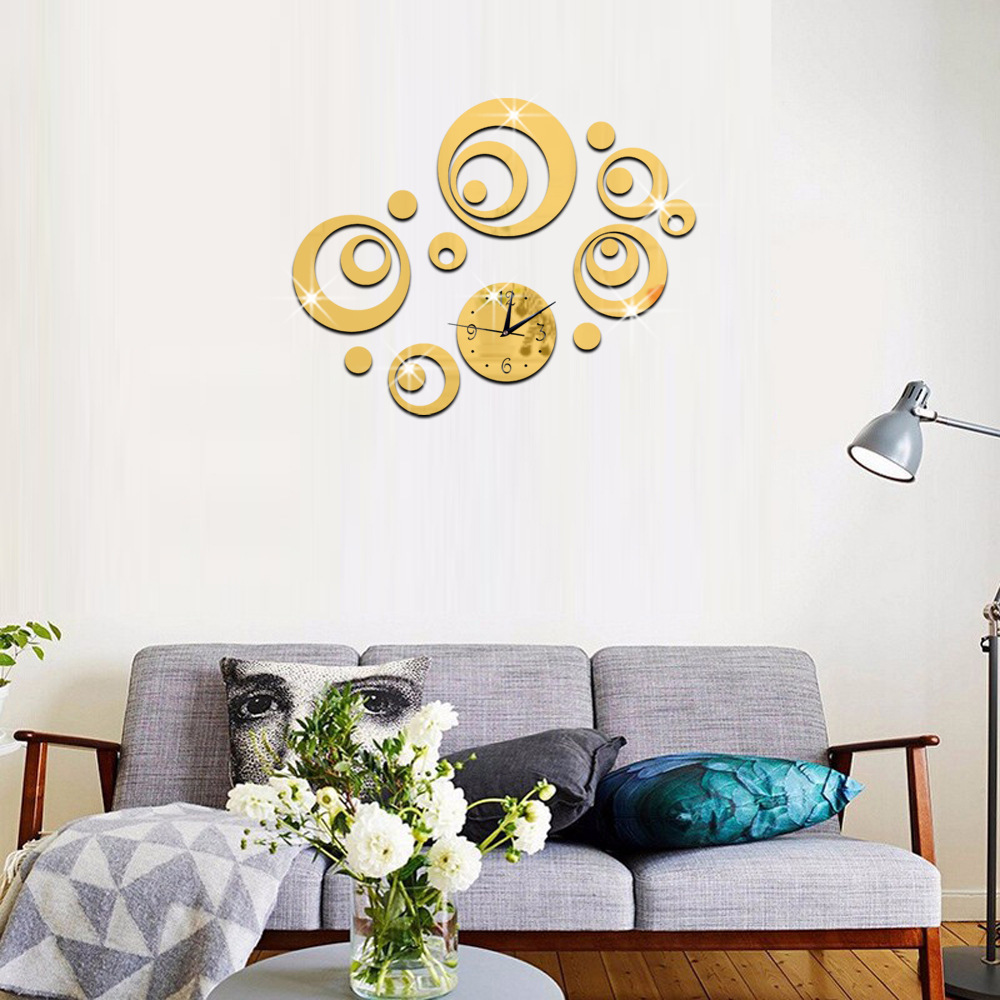 Multi faceted Round Three dimensional Environmental Protection Ring Wall Clock Acrylic Bedroom Living Room Decoration Wall Clock in Wall Stickers from Home Garden
