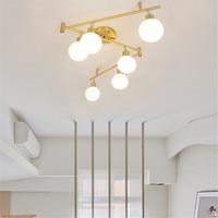 Nordic Современные Простые золото потолочный светильник белый Стекло люстра волшебные бобы молекулярной света DIY ссылку складной лампы для до