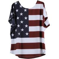 5XL Plus Size Women Clothing 2017 USA American Flag Print T Shirts Casual Loose Short Sleeve