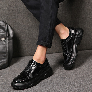 Image 2 - new fashion mens party nightclub wear black patent leather bullock shoes platform carving brogue oxfords shoe zapatos hombre