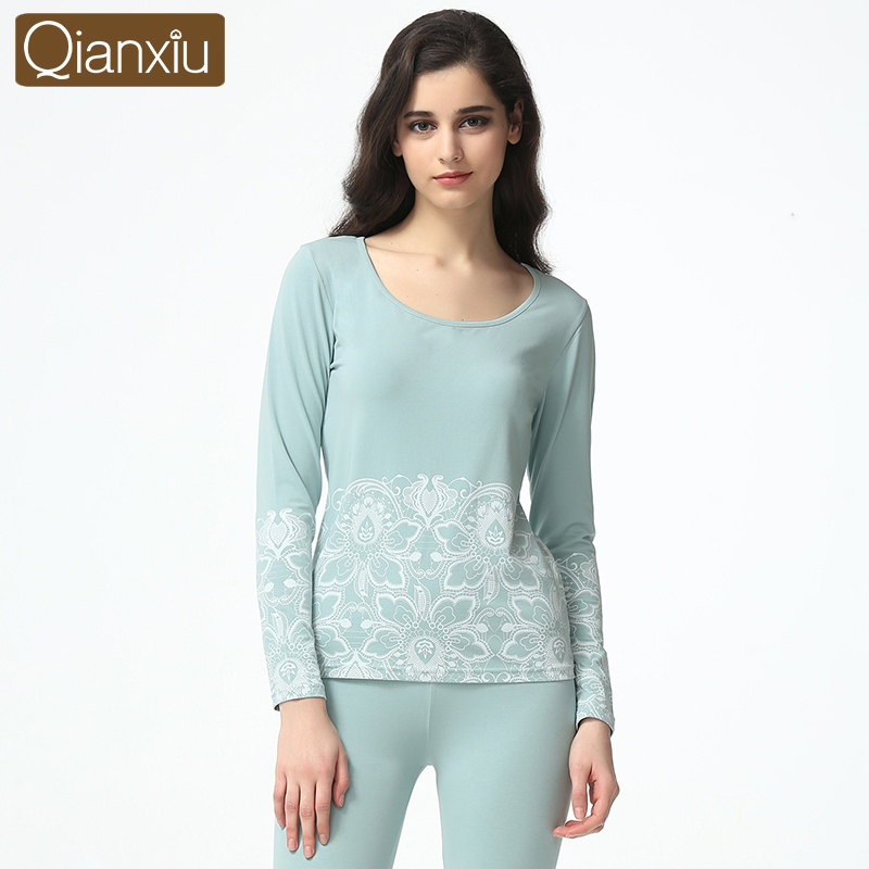 Qianxiu spring new two-piece long-sleeved cotton round neck thermal underwear plus size flower embroidery pajamas for women1604