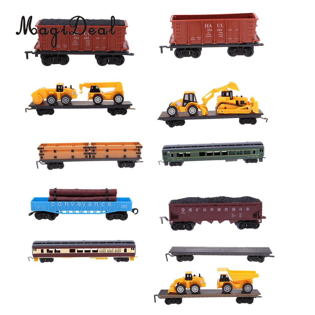 MagiDeal 1:87 Train Model Kids Toy Electric Track Train Freight Car Railroad Car Train Carriages Diecast Vehicle Compartment