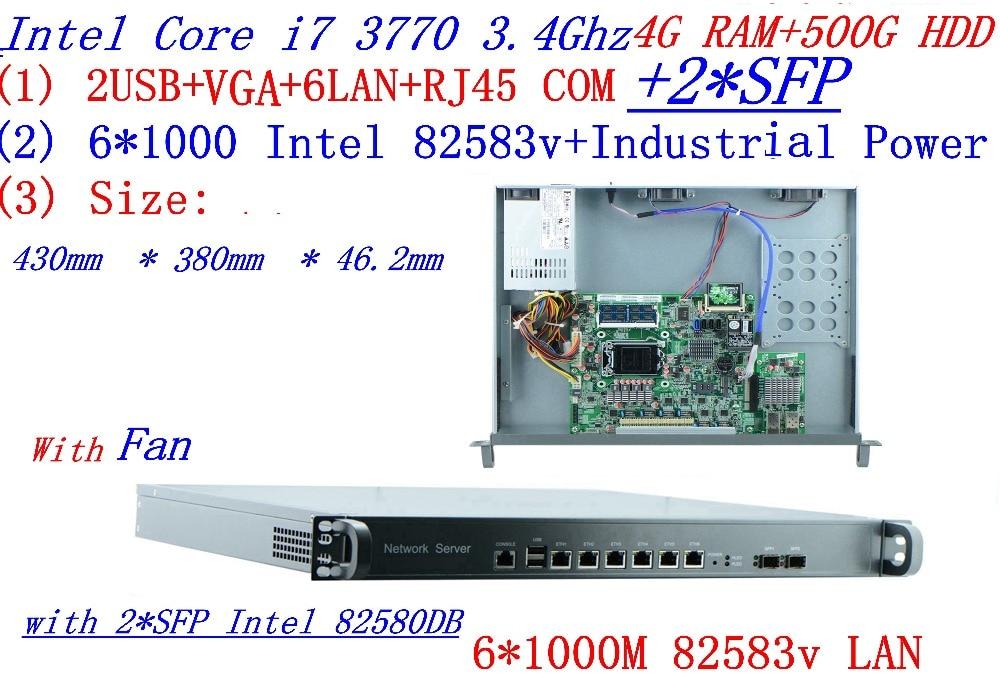 Broadband VPN Router 1U Firewall Server 6*1000M Gigabit Lan 2*SFP Intel I7 3770 3.4GHZ 4G RAM 500G HDD Support ROS/RouterOS Etc