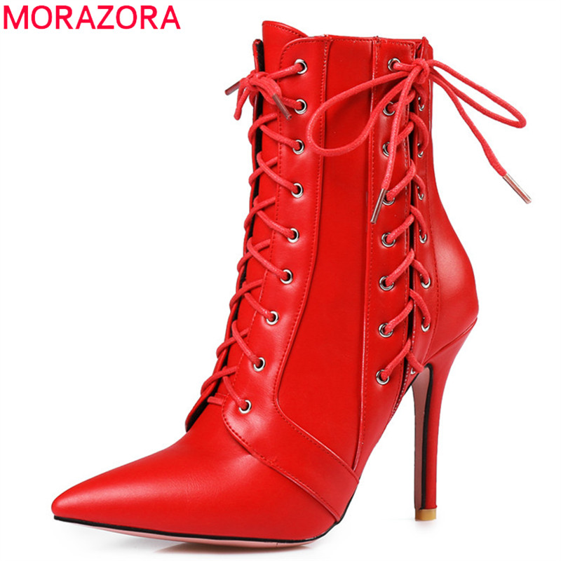 MORAZORA  Lace up zipper pointed toe women boots fashion high heels pu leather ankle boots plus size 34-46 red black white fashion pointed toe lace up mens shoes western cowboy boots big yards 46 metal decoration