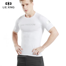 LIEXING Quick Dry Comfortable Running Shirt Mens Short Sleeve T-Shirts Fitness Tight Tennis Soccer Jersey Gym Sportswear