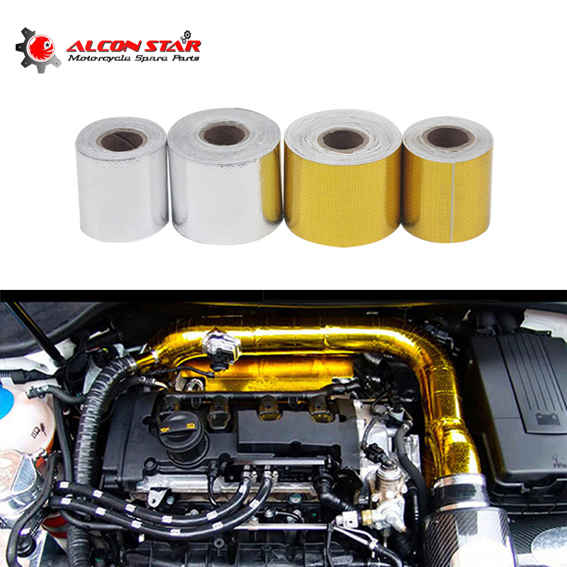 Alconstar Intake-Wrap Foil Exhaust-Pipe Thermal-Tape Heat-Engine Insulation Reflective