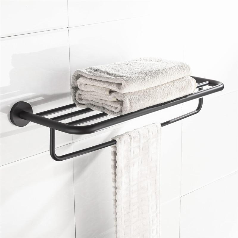 304 Stainless Steel Black Towel Rack 60cm Bathroom Toilet Towel Holders Wall Mount European Bathroom Acccessories Towel Bar HY цена