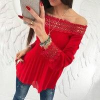 Top Fashion Spring Women Slash Neck Cold Shoulder Long Sleeve Lace Crochet Ruffles Pleated Party Shirt