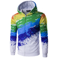 New Arrival Men 3D Printing Rainbow Colorful Hoodies High Quality Men Autumn Zipper Design Sweatshirt Hoodies men