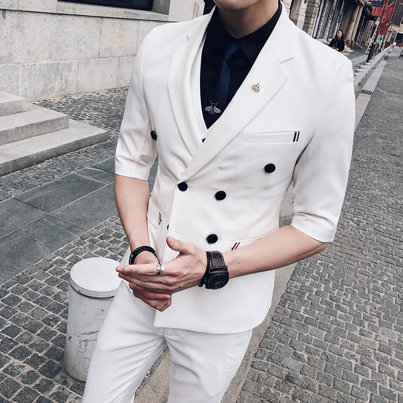 Double boutonnage hommes costumes pour mariage 2019 coréen élégant blanc costumes hommes bal costumes Slim Fit rouge smoking bleu clair Traje Hombre