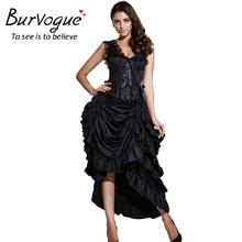 Burvogue Black Vintage Party Gothic Steampunk Overbust Corset Waist Trainer Corsets Lace Irregular Long Skirt Corset Dress Women