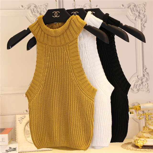 Brandy Melville off shoulder knitted bustier  top Women turtleeneck  neck elastic tube tank tops Beach sexy camis
