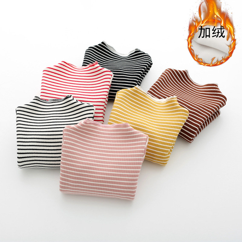 kids girl Tshirts with velvet Childrens long sleeved T-shirt warm pullover children with plush striped blouses top tee 9M-4yrs