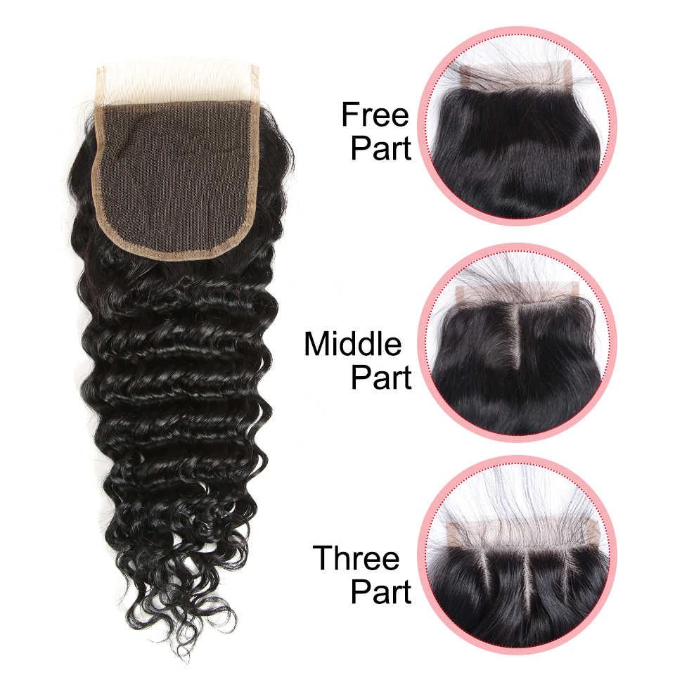 Remy Forte derin dalga demetleri ile kapatma 8-30 inç saç Remy brezilyalı saç örgü demetleri 3/4 kıvırcık demetleri kapatma ile hızlı