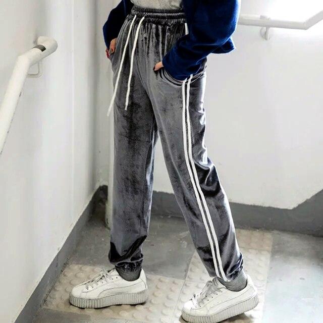 Женская мода Бархат Трек Брюки Классические Две Полосы Штаны Сторона Полоса Бегун Штаны Манжетой Брюки