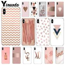 Yinuoda Love Heart Pineapple Gold Rose Stripes Shockproof Mobile Shell for Apple iPhone 8 7 6 6S Plus X XS MAX 5 5S SE XR Case цена