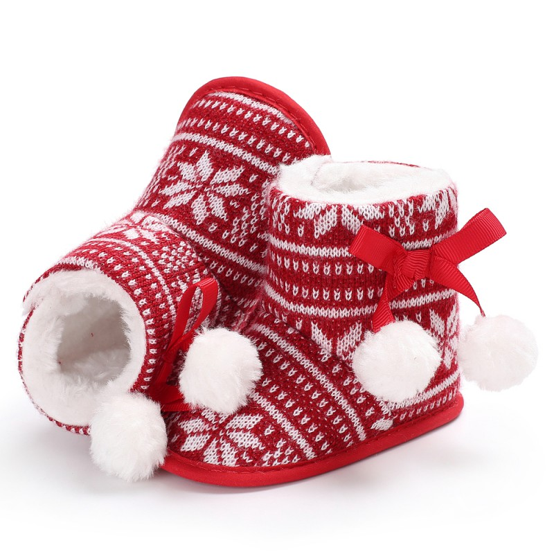 Christmas Keep Warm Winter Baby Snow Boots First Walkers Plus Cashmere Red Maple Baby Boots Prewalker