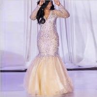 Vestidos Роскошные Стразы Кристалл платье русалка для выпускного 2019 цвета шампанского с длинным рукавом Южной Африки платье для официальная Ве