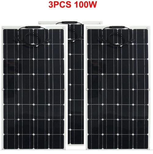 Solar Panel Kit 18v 300w Semi flexible Monocrystalline Solar Cell Battery 3x100w