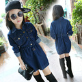 2017 Spring Real Top Fashion Big Girl Dresses Denim Casual Kids Girl Dress Children's Clothes AuroraBaby 4-12 Olds 110-160CM