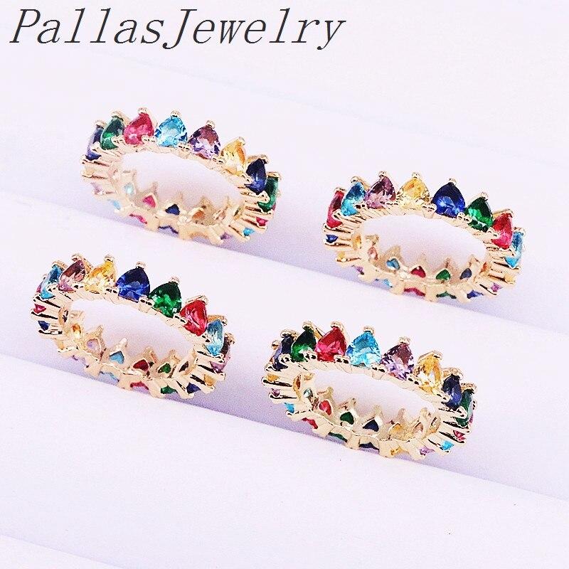 10Pcs Cz engagement ring heart shape colorful cubic zirconia Gold color trendy women Sparking finger rings
