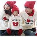 2017 juego de la familia de manga larga sweatershirt trajes a juego ropa de la familia de madre e hijo carta de amor impreso pullover hoodies